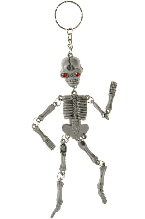 Porte-clés squelette aux yeux rouges